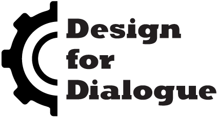 Logo image of half a cog followed by the words 'Design for Dialogue'